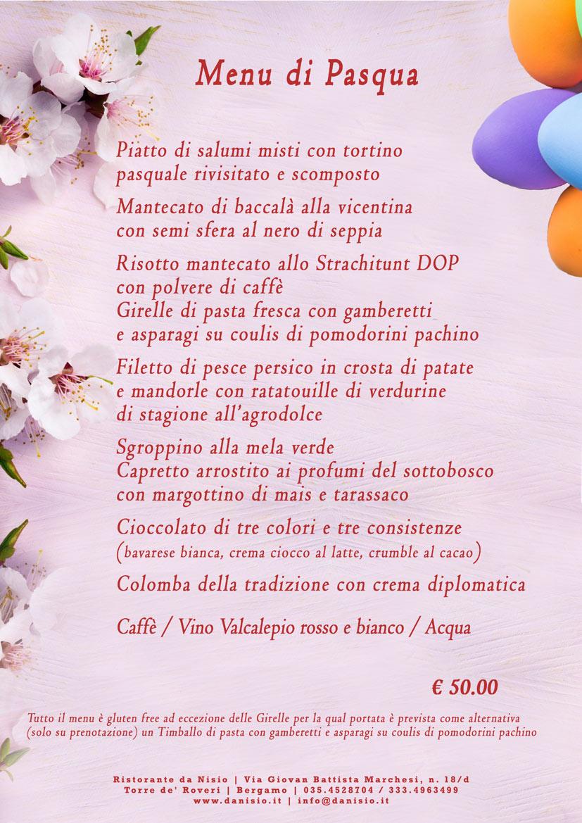 Menu di Pasqua 2020 Bergamo