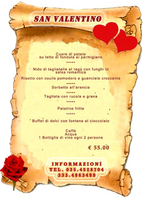 Menu San Valentino Bergamo